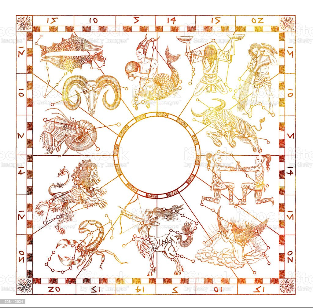 Shining collage with Zodiac signs on white stock photo