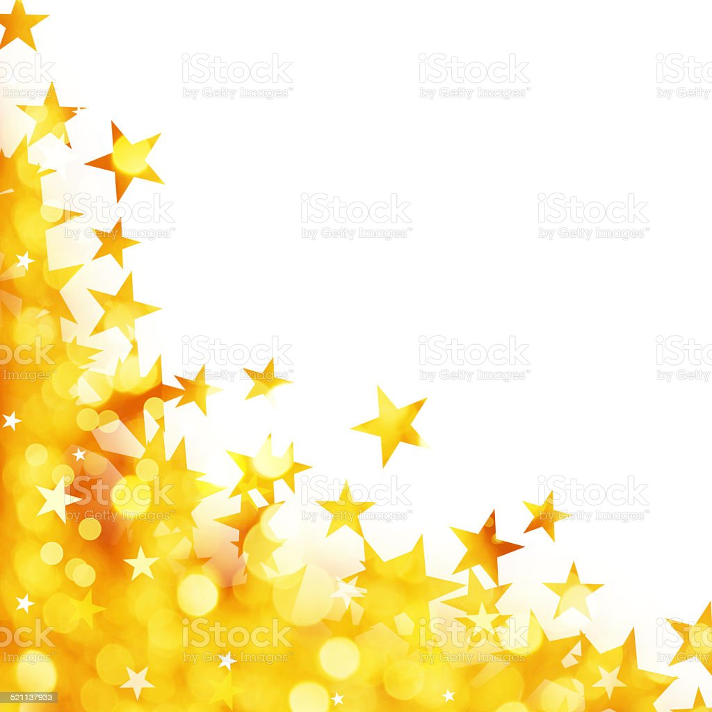 Shiny background of golden lights with stars vector art illustration