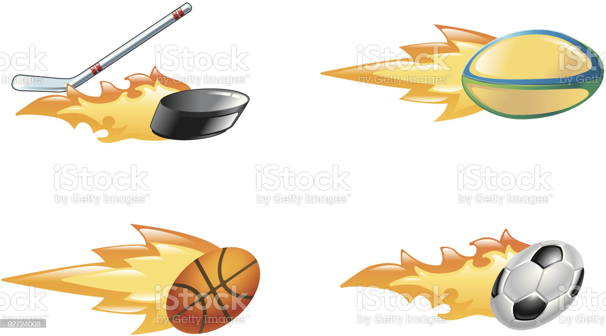 Shiny flaming sport icons royalty-free stock vector art