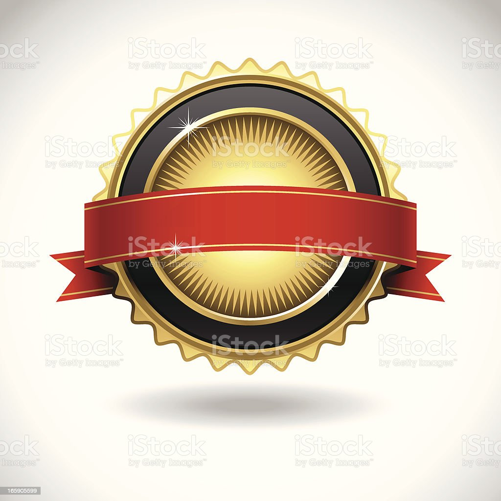Shiny Gold Seal with Banner vector art illustration
