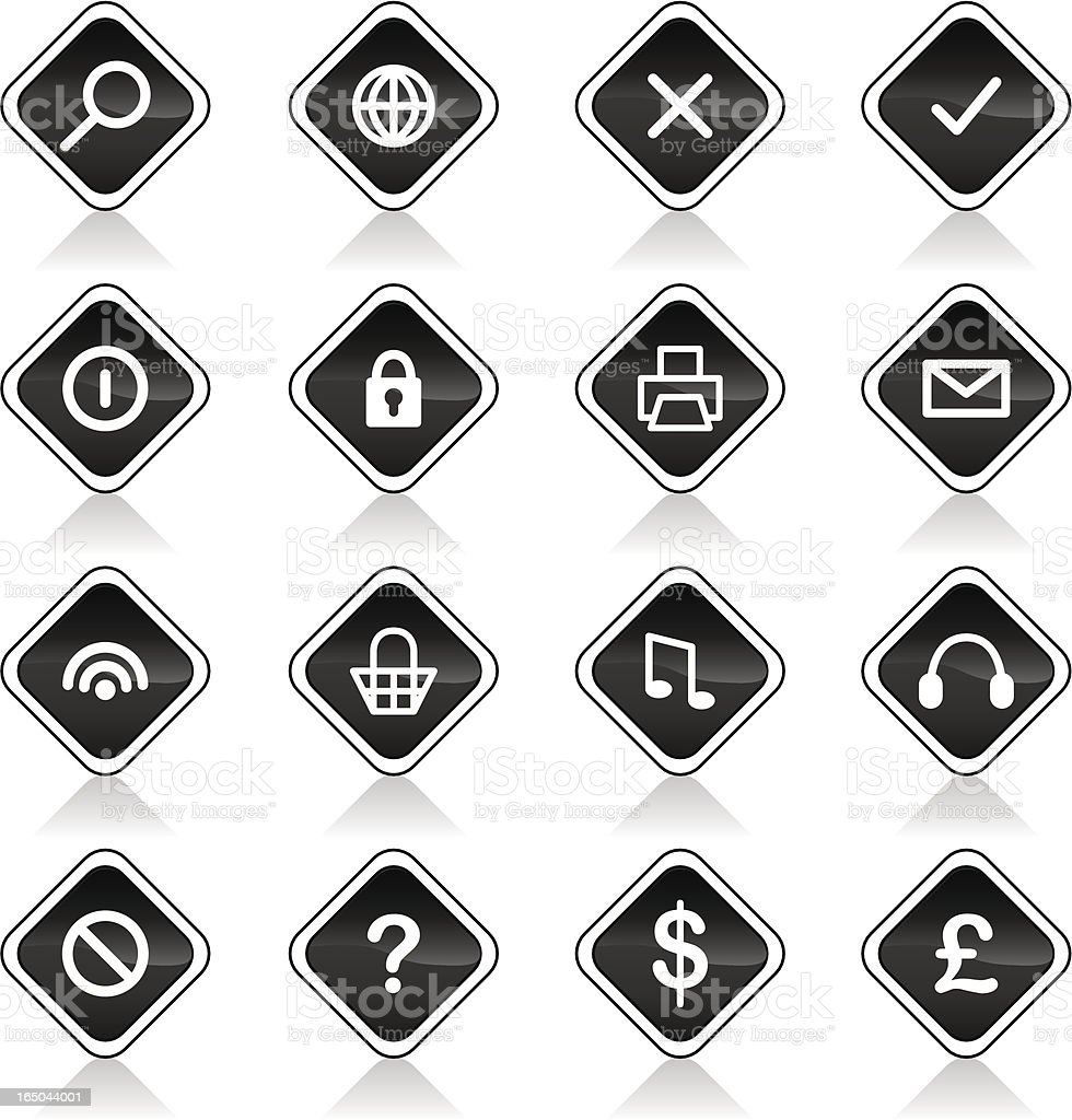 Shiny Icons - Black ( vector & jpg ) vector art illustration