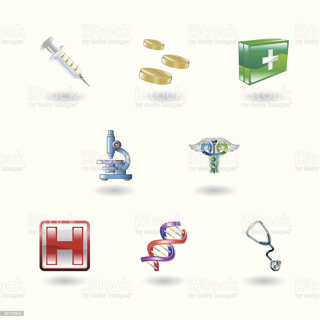 Shiny Medical Icons royalty-free stock vector art