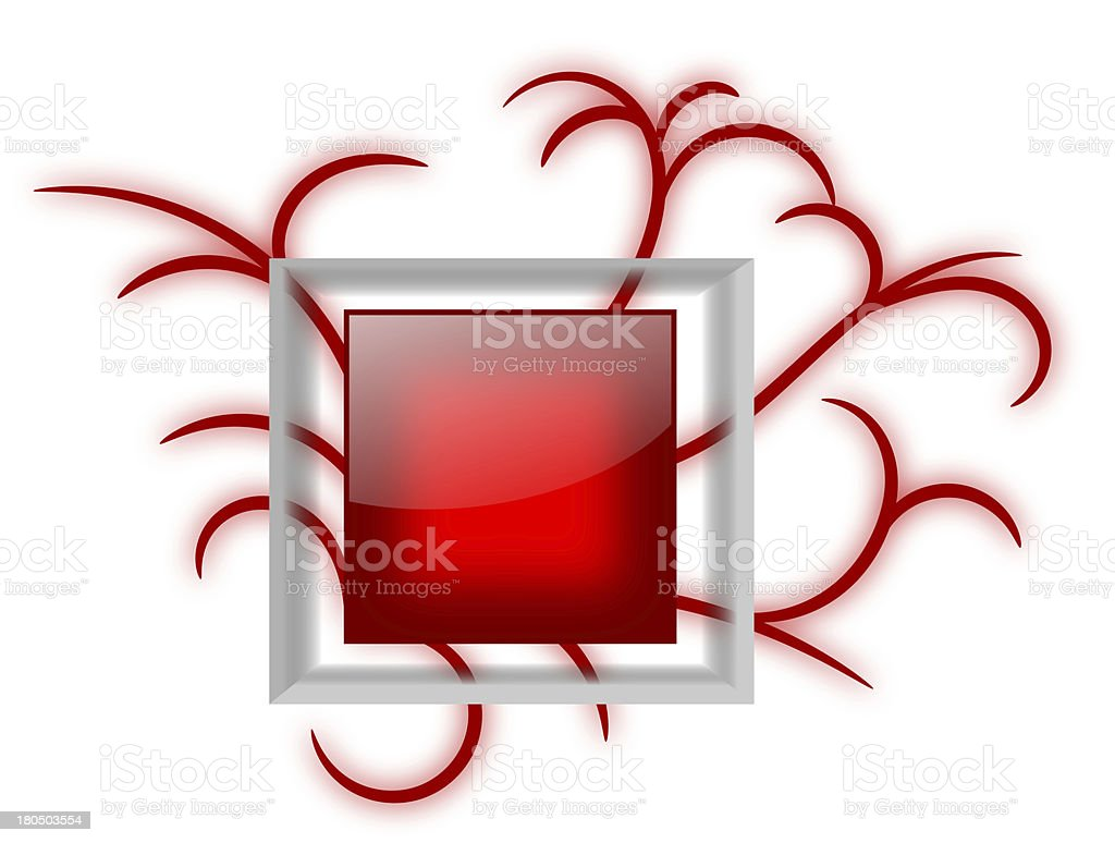 Shiny Red Message Board with Vines royalty-free stock vector art