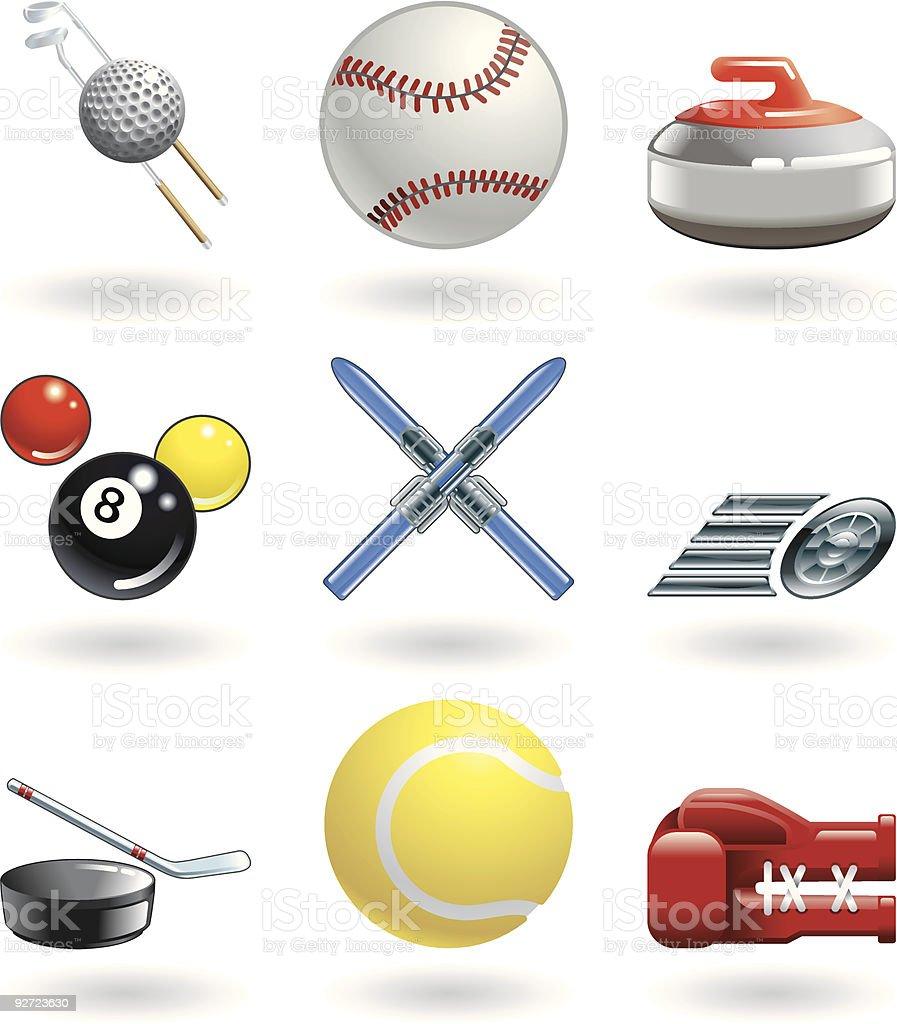Shiny sports icon set series royalty-free stock vector art