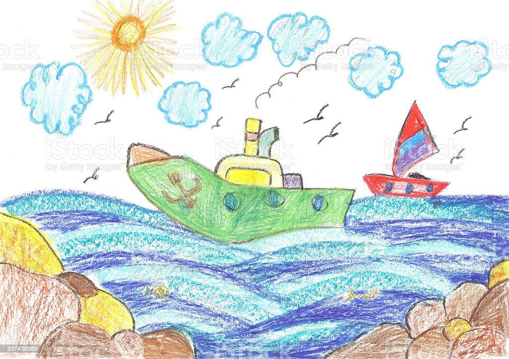 Navi e di Yacht in mare illustrazione royalty-free