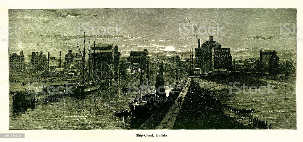 Ship canal, Buffalo, New York royalty-free stock vector art