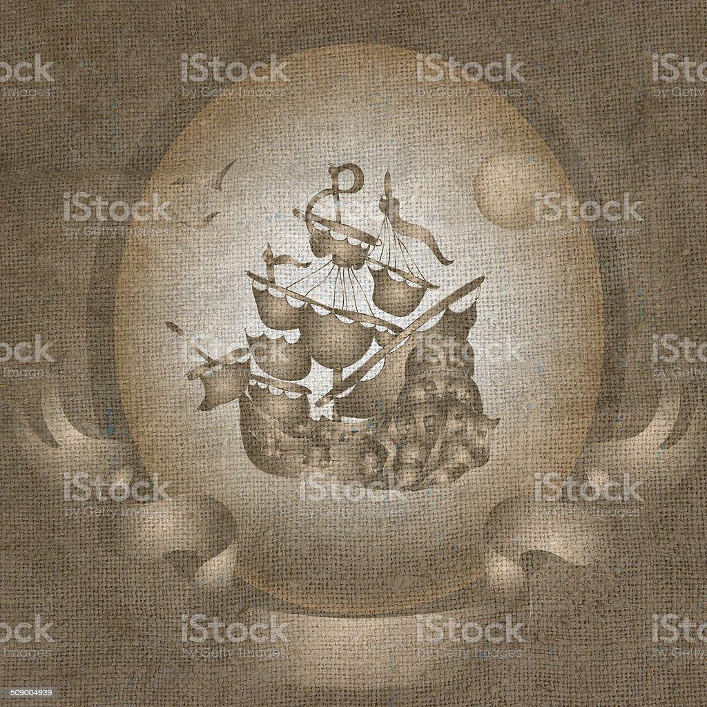 Ship image on fabric vector art illustration