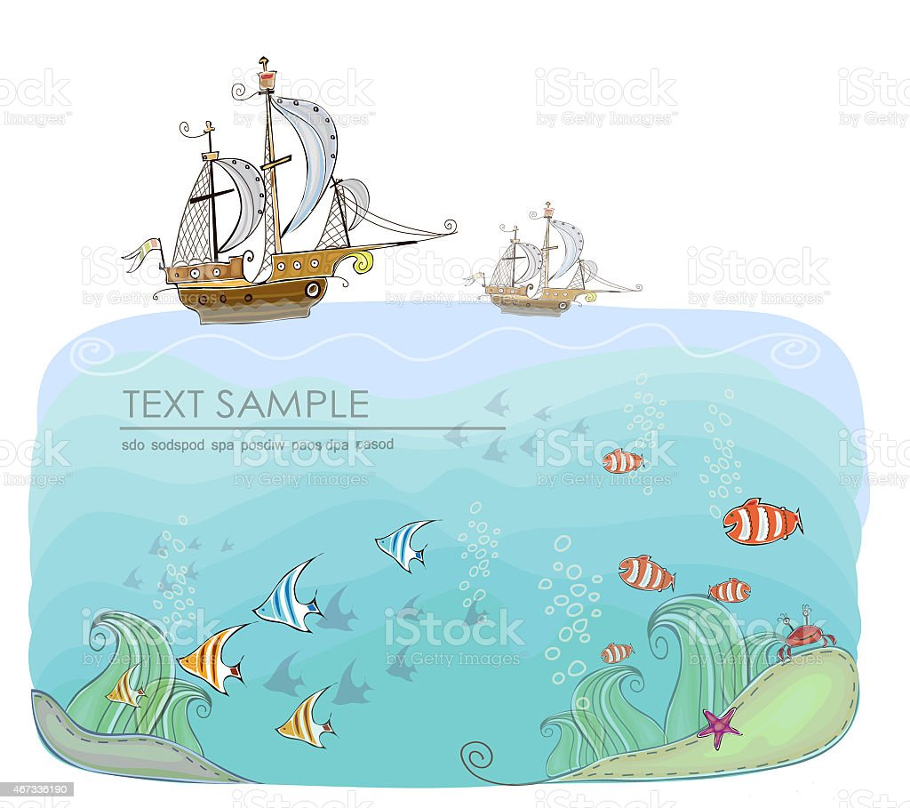 Ship in the open ocean, travel background vector art illustration