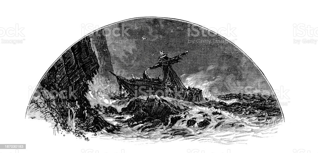 Ship on the Rocks royalty-free stock vector art