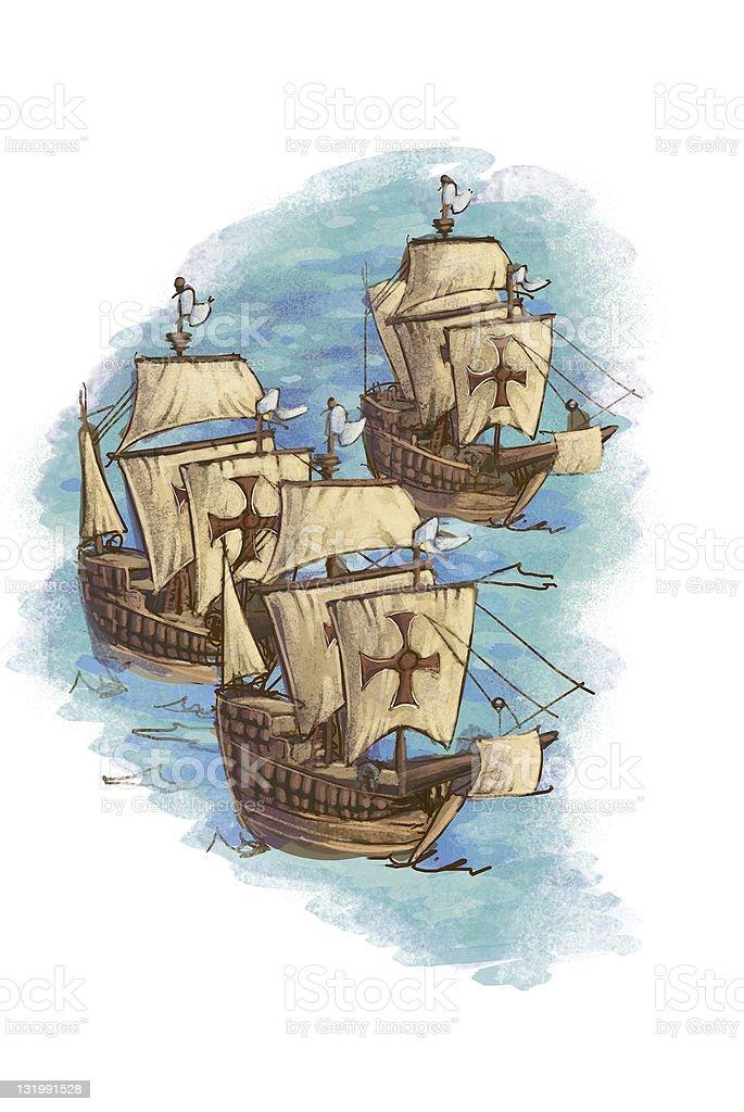 Ships across the ocean royalty-free stock vector art