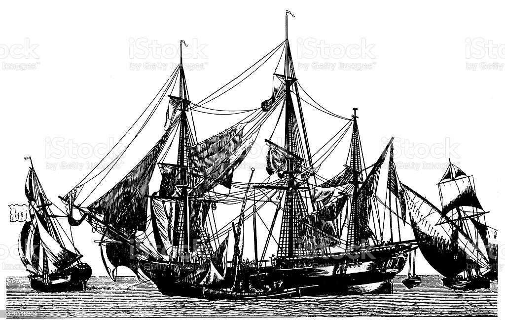 Ships | Antique Transportation Illustrations royalty-free stock vector art