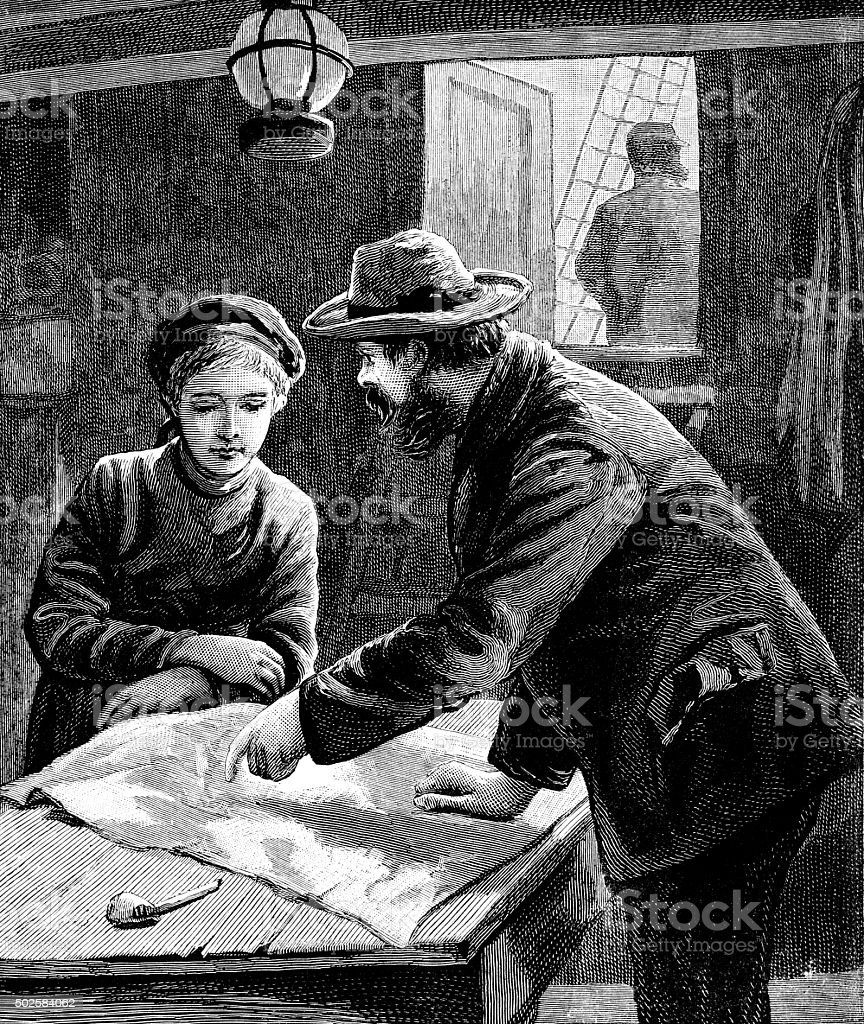 Ship's boy being taught to read a map vector art illustration
