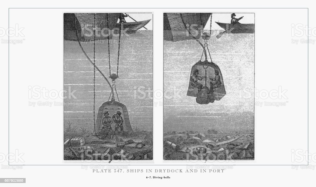 Ships in Drydock and in Port Engraving, 1851 vector art illustration