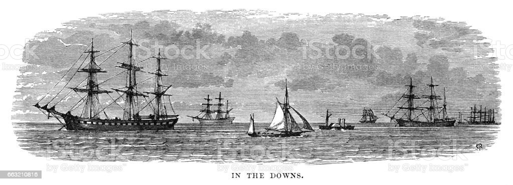 Ships in the Downs, southern North Sea (Victorian engraving) vector art illustration