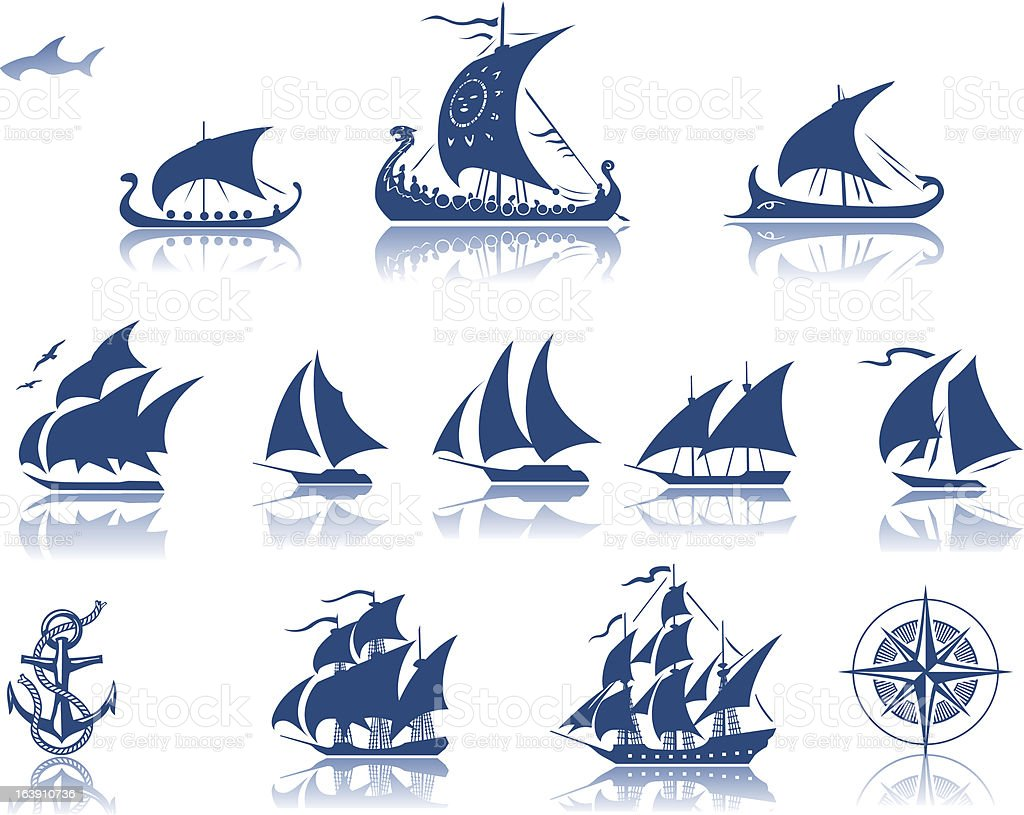 Ships of the past  iconset vector art illustration
