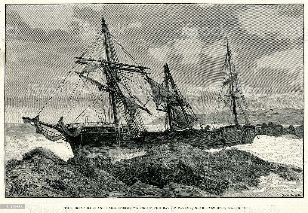 Shipwreck near Falmouth vector art illustration