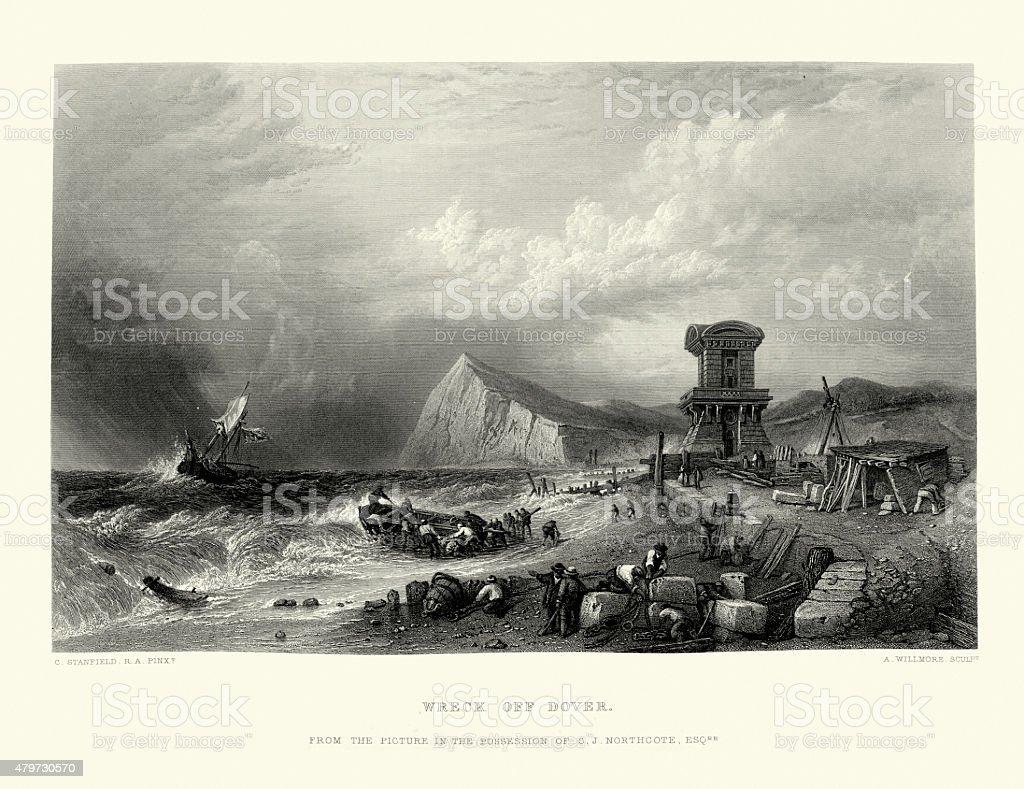 Shipwreck of the Dover Coast vector art illustration