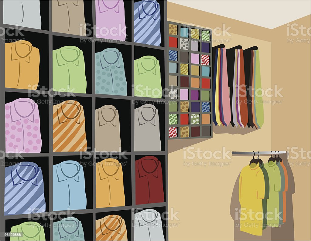 Shirts in store vector vector art illustration