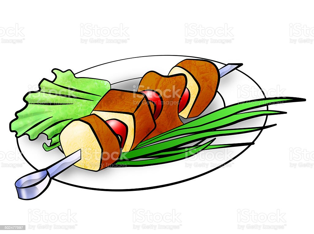 shish kebab illustration vector art illustration