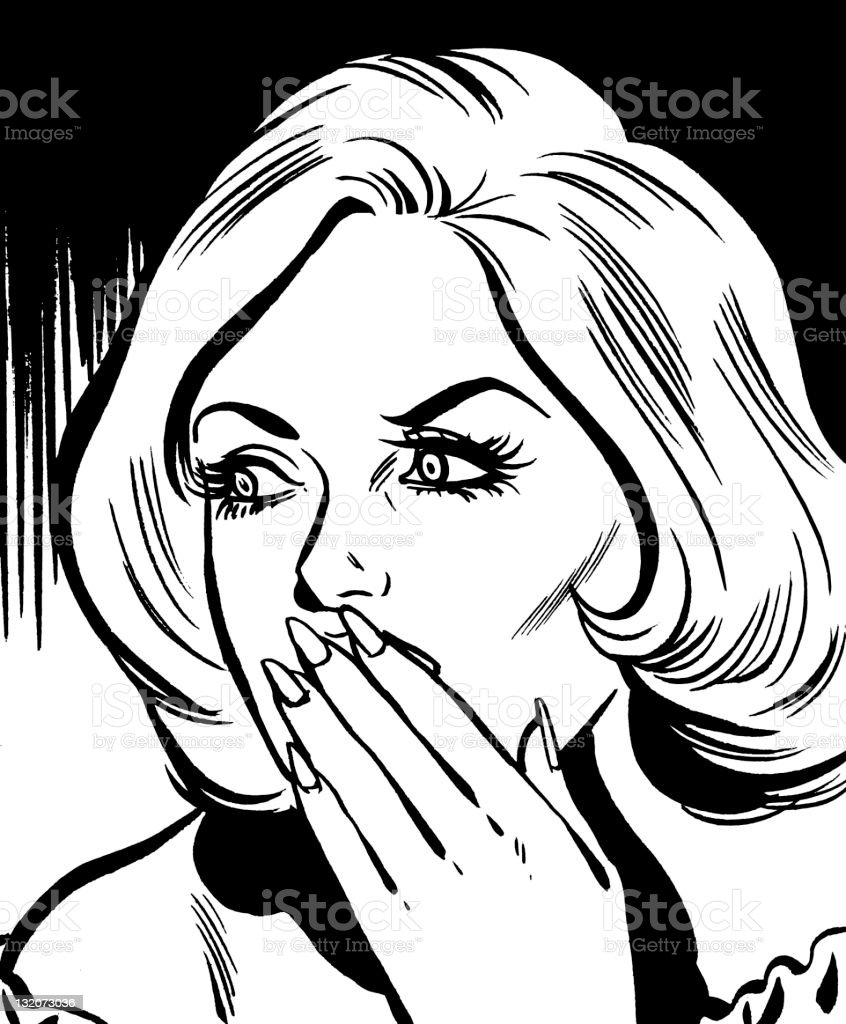 Shocked Blonde Woman Covering Her Mouth vector art illustration