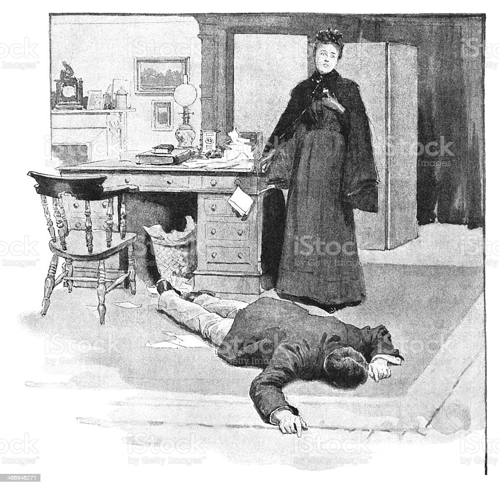 Shocked Victorian woman finding a man on the floor royalty-free stock vector art