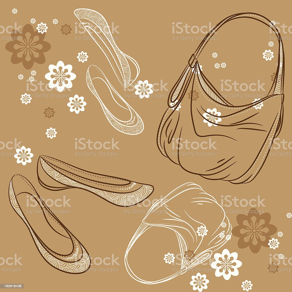 Shoes, bag and flowers. Туфли, сумка и цветы. vector art illustration