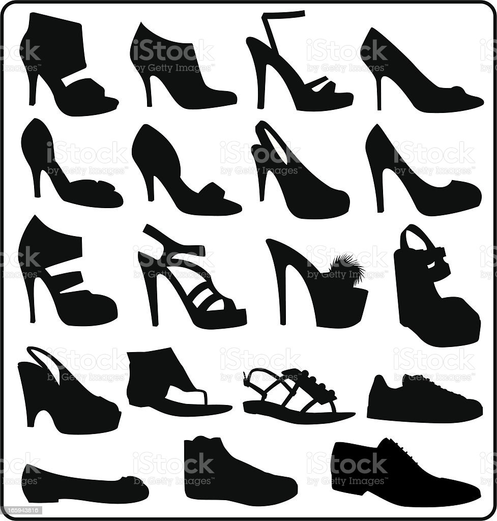 Shoes silhouettes vector art illustration