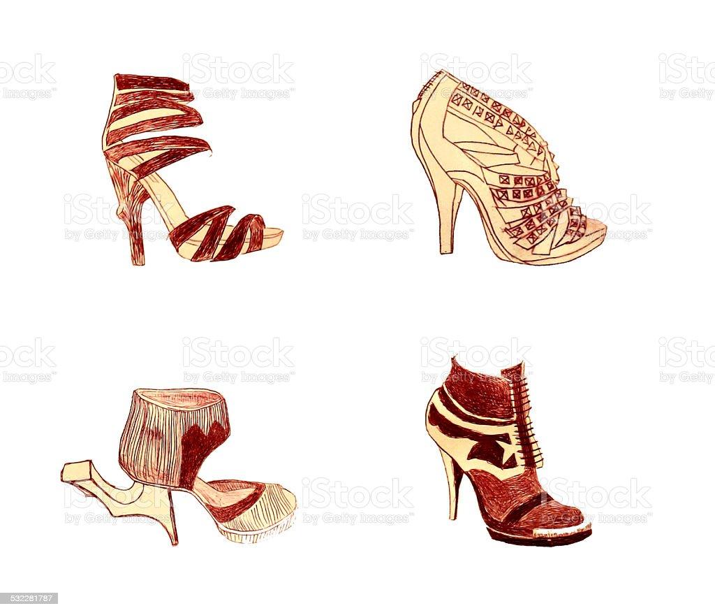 shoes sketch vector art illustration