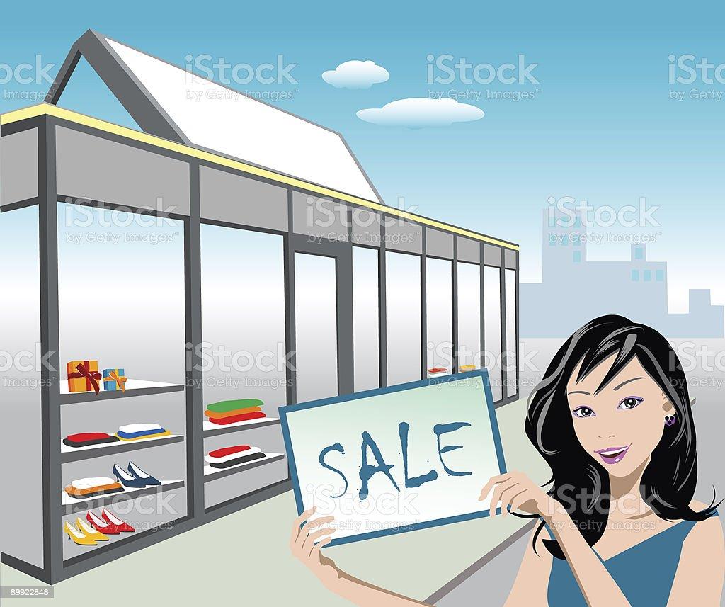 Shop for Sale vector art illustration