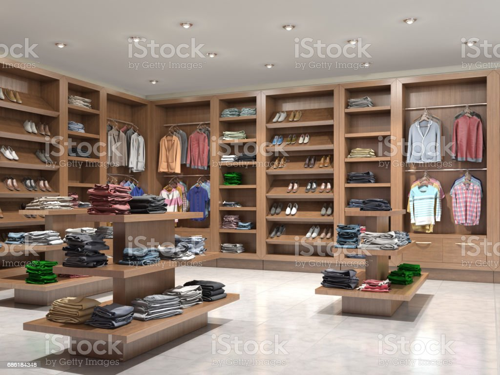 Interior wooden shelves free vector - Shop With Wooden Shelves And Clothes 3d Illustration Royalty Free Stock Vector Art
