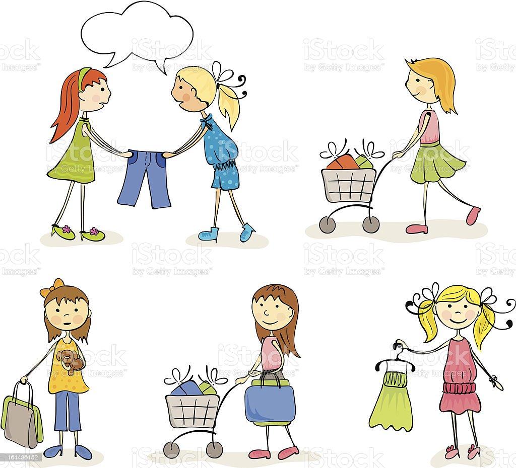 Shopaholic Girls royalty-free stock vector art