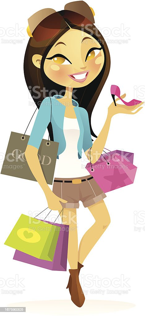 Shopaholic (Asian) royalty-free stock vector art