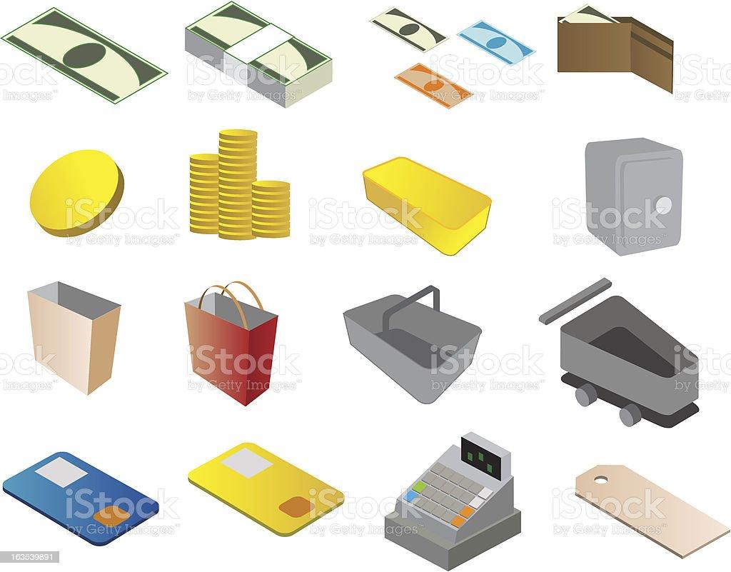 ショッピングとビジネスのアイコン ロイヤリティフリーのイラスト素材