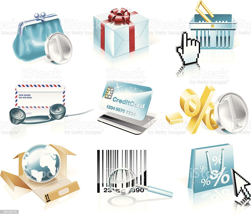Shopping and Consumerism icon set royalty-free stock vector art