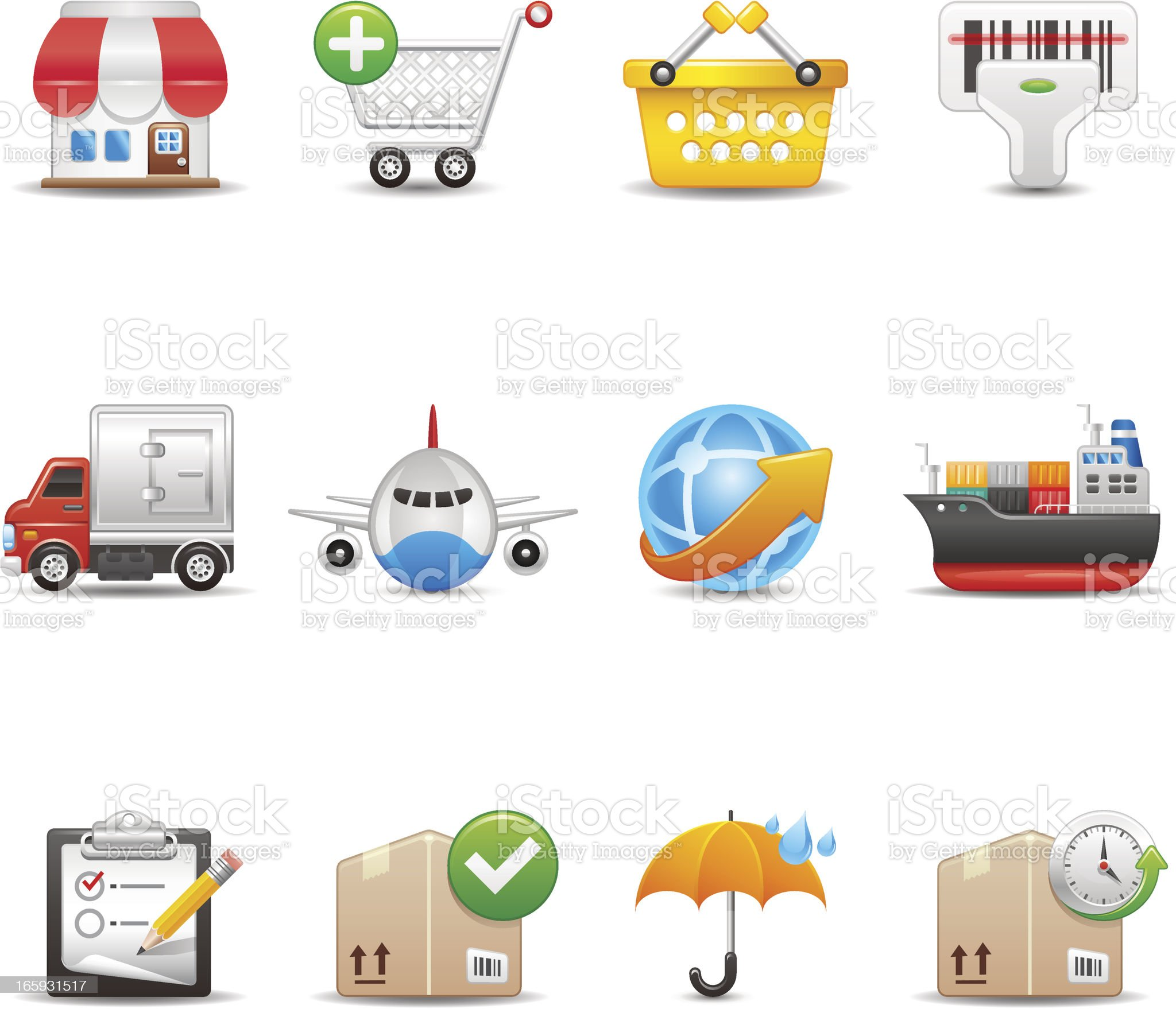 Shopping and Shipping Icon Set   Elegant Series royalty-free stock vector art