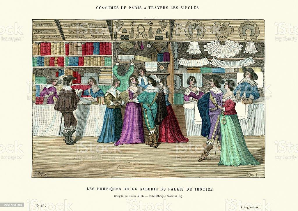 Shopping arcade at Palais de Justice in Paris 17th Century vector art illustration