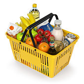 Shopping basket with variety of grocery products isolated on whi