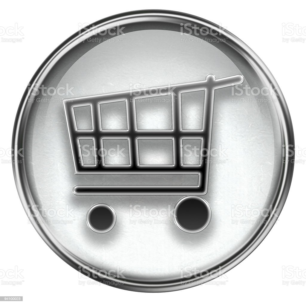 shopping cart icon grey, isolated on white background royalty-free stock vector art