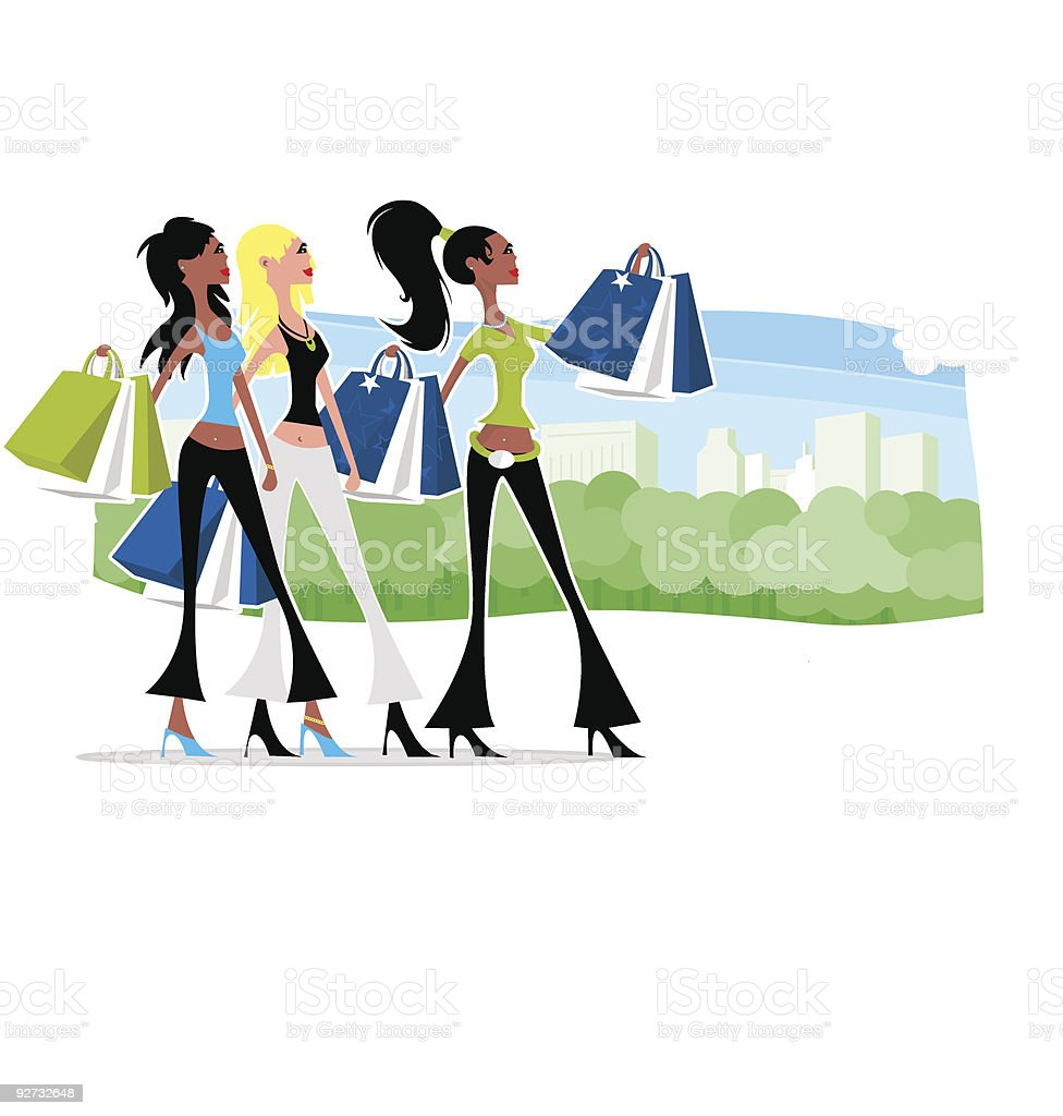 Shopping Friends royalty-free stock vector art