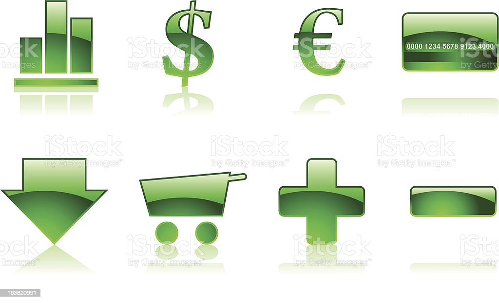 Shopping icons - Emerald royalty-free stock vector art