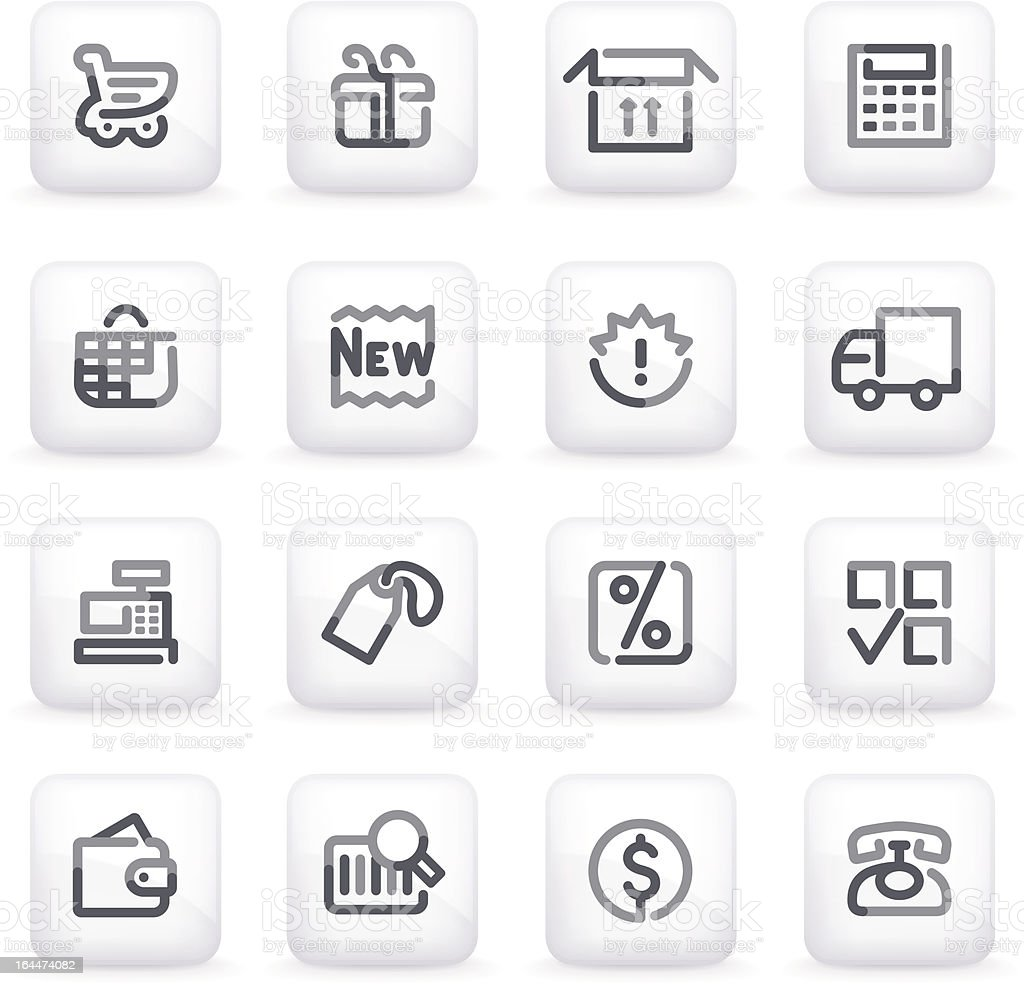 Shopping icons on gray buttons. royalty-free stock vector art