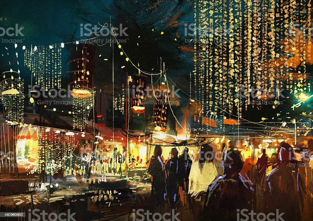 shopping street city with colorful nightlife vector art illustration