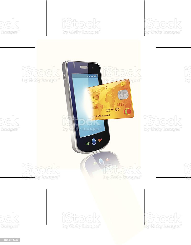 shopping with smart phone and credit card royalty-free stock vector art