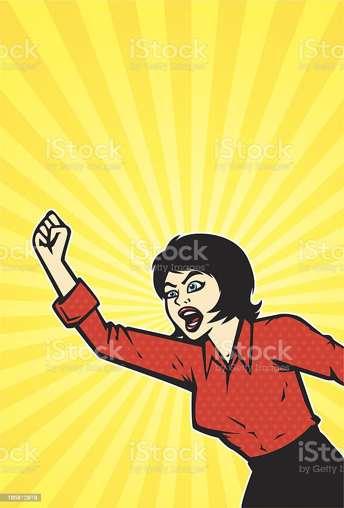 shouting comic book woman vector art illustration