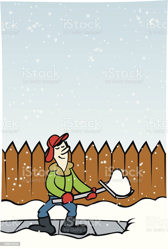 shoveling snow royalty-free stock vector art