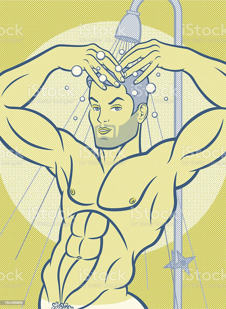 Shower Boy with Tan Line royalty-free stock vector art