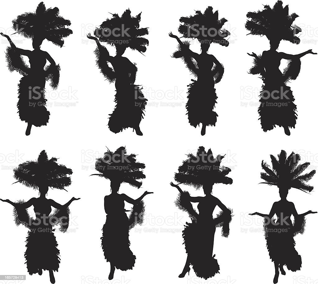 Showgirls in different poses vector art illustration