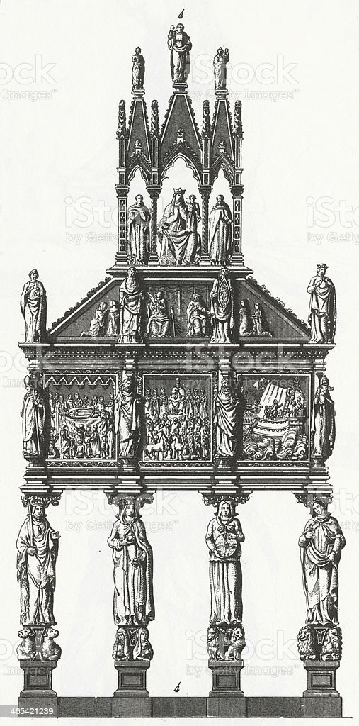 Shrine of St. Peter Engraving royalty-free stock vector art