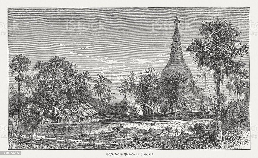 Shwedagon Pagoda in Yangon (Rangoon), wood engraving, published in 1873 vector art illustration