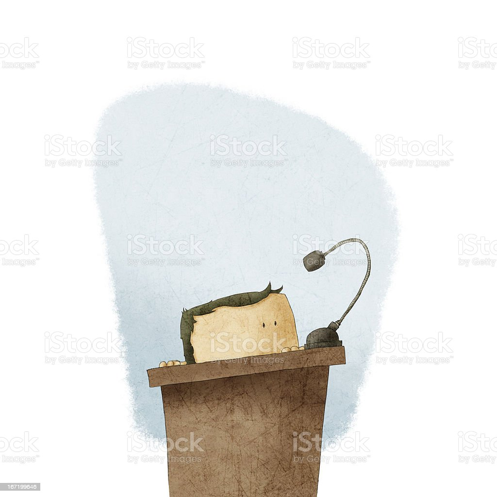 shy man at the podium giving speech royalty-free stock vector art
